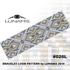Bracelet pattern, loom pattern, square stitch pattern, pdf file, pdf pattern, cuff, #026L