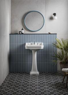 The Real Reason Behind Art Deco Bathroom Floor Tiles Bathroom Red, Bathroom Wallpaper, Bathroom Floor Tiles, Bathroom Colors, Small Bathroom, Stone Bathroom, Wall Tile, Family Bathroom, Toilet Tiles