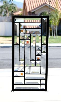 TWILIGHT - Clear Beveled Stained Glass Window Panel, Small Sidelight or Transom with Dichroic Bevels