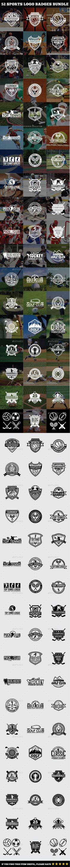 52 Sports Logo Badges Bundle - Badges & Stickers Web Elements