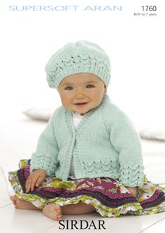 This adorable Sirdar aran baby cardigan knitting pattern comes with a matching beret hat pattern, both with pretty lace scallop details. Baby Knitting Patterns, Baby Cardigan Knitting Pattern, Knitting Kits, Knitting For Kids, Baby Patterns, Knitting Supplies, Crochet Patterns, Baby Sweaters, Knitted Hats