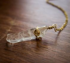 Quartz Pendant with 14kt Gold Filled Wire and by HSigneDesigns, $40.00