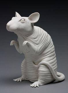 Bethany Krull, Porcelain, animals, sculpture, ceramics, rat, wrinkled, snitch