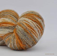 Kauni Wool Yarn 8/2 Color EN, Self-Striping, Fingering, 2ply, Mustard Yellow, Grey and Vanilla White, Free Shipping