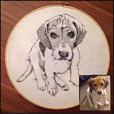 Custom  Intricately hand stitched Pet Portrait by FawnandSquirrel