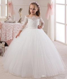 2016 Lace 3/4 Long Sleeves Pearls Tulle Flower Girl Dresses Vintage Child Pageant Dresses Beautiful Flower Girl Wedding Dresses Cheap Infant Pageant Dresses Children Pageant Dresses From Maggiedress, $38.76| Dhgate.Com