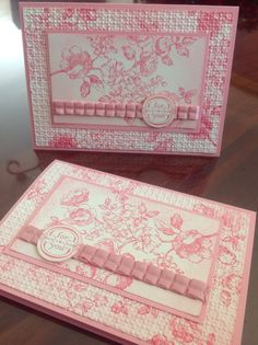 "Mostly Stampin' Up! card using Very Vanilla card stock, Blushing Bride Pleated Ribbon, Elements of Style stamp set, Regal Rose ink, SU markers, Square Lattice embossing folder, 1"" circle punch and SU sponge. Main card is made from Canson Rose Petal card stock."
