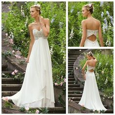 Back Crystal Beads #Bridal Dress Perfect for #Beach Wedding!  Free DHL/Fedex Shipping Chiffon and Satin Fabrics SweepTrain   Oh this is beautiful.