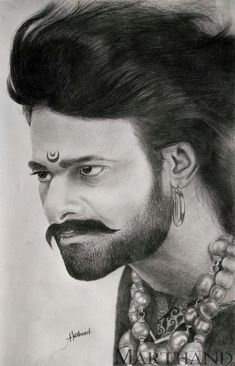 Bahubali Prabhas Drawing by Marthand - Celebritys Pencil Sketch Portrait, Pencil Sketch Drawing, Portrait Sketches, Pencil Art Drawings, Art Drawings Sketches, Prabhas Pics, 3d Art Drawing, Drawing Videos For Kids, Indian Art Paintings