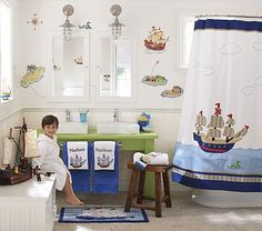 The boys new bathroom shower curtain, and decor. They are OBSESSED with pirates, ARRRRGH