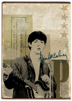 From a series of digital collages based on A &BC gum cards from the 1960's by Malcolm Turner - 'McCartney'