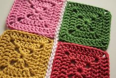 How to join your crochet motifs together using just your crochet hook.  Double crochet joining (US: Single crochet joining)