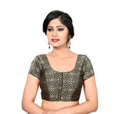 black front open patola print brocade ready made blouse