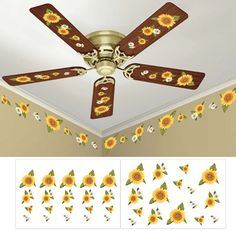Sunflower Ceiling Fan and Wall Removable Decals - Fun decorating ideas for autumn or for the sunflower lover Más Sunflower Themed Kitchen, Sunflower Bathroom, Sunflower Nursery, Sunflower Room, Sunflower Design, Painting Ceiling Fans, Sunflowers And Daisies, Rustic Nursery Decor, Collections Etc
