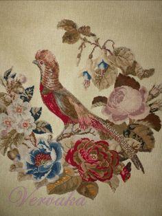 Gallery.ru / Фото #133 - СОЗЕРЦАЕМ КРАСОТУ-184 - GAVRUCHA Bead Embroidery Patterns, Butterfly Embroidery, Vintage Embroidery, Beaded Embroidery, Cross Stitch Embroidery, Cross Stitch Patterns, Embroidery Designs, Cross Stitch Rose, Cross Stitch Animals