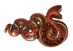 Snake Brooch Signed Anne Koplik Designs Copper Enamel Amber Rhinestones 2 in Vintage Snake Jewelry, Old Jewelry, Animal Jewelry, Vintage Jewelry, Antique Jewelry, Jewelery, Etsy Vintage, Vintage Shops, Cool Snakes