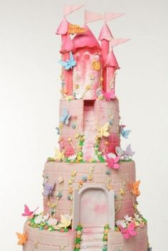 castle and butterfly cake