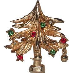 RARE Benedikt N.Y. Petite Dangling Ornaments Christmas Tree Pin ~ Book Piece - RARE Benedikt N.Y. Petite Dangling Ornaments Christmas Tree Pin ~ Book Piece