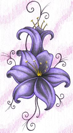 Wonderful purple lily tattoo design on paper – truetattoos tiger lilly tattoo, violet flower tattoos Lilly Flower Tattoo, Violet Flower Tattoos, Violet Tattoo, Purple Tattoos, Flower Tattoo Arm, Flower Tattoo Shoulder, Lilly Flower Drawing, Tattoo Flowers, Shoulder Tattoos