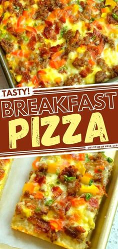 In search of a fun and tasty addition to Easter brunch? Learn how to make Breakfast Pizza! Loaded with crispy bacon, pork sausage, sweet peppers, scrambled eggs, and cheeses, it is sure to be an all-time favorite on your menu. More topping ideas for this recipe included! Breakfast Pizza, Breakfast Items, Breakfast Dishes, Breakfast Casserole, Breakfast Recipes, Homemade Breakfast, How To Make Breakfast, Egg Pizza, Easter Brunch