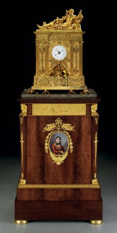 SOLD $722,500 - A CONSULAT LARGE ORMOLU QUARTER-STRIKING AND AUTOMATON PEDESTAL CLOCK WITH ANNUAL CALENDAR AND EQUATION OF TIME, ON AN ORMOLU AND PORCELAIN-MOUNTED MAHOGANY PEDESTAL INCORPORATING AN ORGAN THE CLOCK DIAL SIGNED BY J.A. CAVE, CIRCA 1800, THE PEDESTAL ATTRIBUTED TO JACOB FRERES