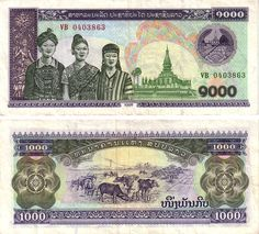 1998 series Laotian 9000-kip banknote, featuring the coat of arms of Laos, the Pha That Luang temple, and three women in national costume representing the Lao Soung (left), Lao Loum (center) and the Lao Theung (right) regional ethnicities on the obverse side, and cattle livestock on the reverse side.