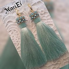 Silk Thread Necklace, Beaded Tassel Earrings, Thread Jewellery, Soutache Earrings, Tassel Jewelry, Seed Bead Earrings, Beaded Jewelry, Cute Jewelry, Handmade Jewelry