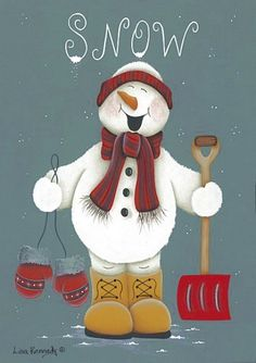 *SNOWMAN ~ Snow Happy by Lisa Kennedy art print by eileen. Christmas Signs, Christmas Snowman, Winter Christmas, All Things Christmas, Vintage Christmas, Christmas Decorations, Christmas Ornaments, Frosty The Snowmen, Cute Snowman