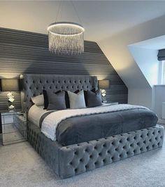 Luxury Bedroom Design, Bedroom Bed Design, Girl Bedroom Designs, Room Ideas Bedroom, Home Decor Bedroom, Master Bedroom, Luxury Kids Bedroom, Silver Bedroom Decor, New Bed Designs
