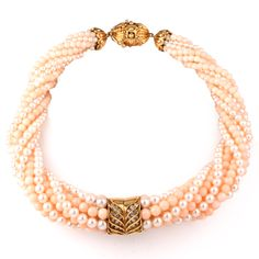 Vintage Angel Skin Coral Beads, Cultured Pearl & Diamond Choker Necklace Item # 617502