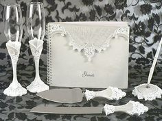 Set-Victorian-449-450-451-452 Lovely Victorian Lace Toasting Flutes, Cake Server, Guestbook & Pen Set