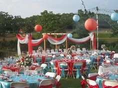 turquoise and red wedding | Satin wedding linens: red, turquoise/aqua and white - tablecloths ...