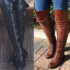 e39627cce65 Womens Over The Knee Zip Stiletto Heel Thigh High Shoes Lace Up Pu Leather Boots  Thigh
