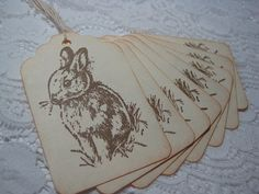 Handmade Easter Gift Tags  Vintage Style Easter Bunny by wkburden, $3.99