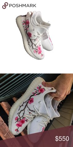 1ef4230f1 Custom Blossom Yeezy (ANY SIZE) - Cream Yeezy 350 - Pink Blossom Patch   Yeezys are delivered from original factory and takes days to come in.