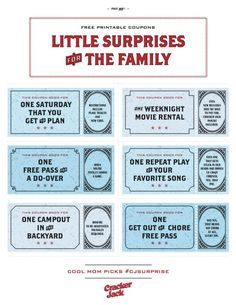 Free printable coupons for little family surprises that are perfect for birthdays, holidays, or just because (our fave excuse)