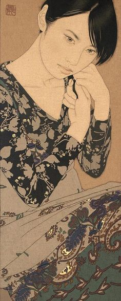 """Contemporary Japanese Artist Yasunari Ikenaga creates his art by dropping Japanese paints into the canvas that he calls """"linen cloth"""", with a Menso brush."""