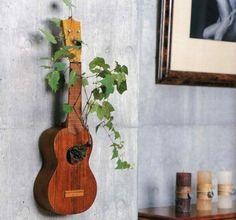 DIY Deko Ideen gitarre pflanzen topf kunstvoll