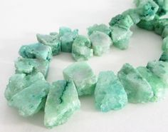 Green Druzy Nugget Beads  Crystal Titanium Quartz  by BijiBijoux