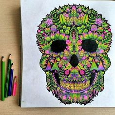 Skull enchanted forest Purple Crayon, Coloring Book Pages, Colored Pencils, Skull, Instagram Posts, Colouring In, Drill Bit, Colouring Pencils, Coloring Book