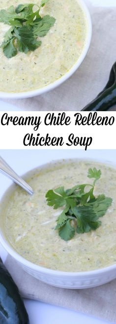Creamy Chile Relleno Chicken Soup- This soup is delicious! Roasted poblano peppers, creamy texture and rotisserie chicken. This is a low carb and weight watchers friendly recipe!