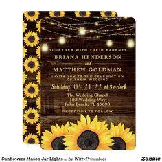 Sunflowers Wedding Mason Jar String Lights Glam Barn Wood Sunflower Pretty Personalized Wedding Invites Announcements Invitations Card #sunflower #wedding