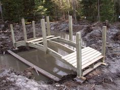 Kaarisilta Lawn And Garden, Garden Bridge, Beautiful Gardens, Farming, Pond, Goats, Outdoor Structures, Projects, Gardening