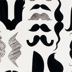 Fabric... A Must Stache in Black and White by Nicoles Prints for Alexander Henry Fabrics