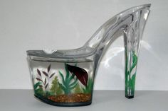 Totes adorable! Hand painted Betta Fish tank or cute planter for shoe lovers by AShoeThing on Etsy, $40.00