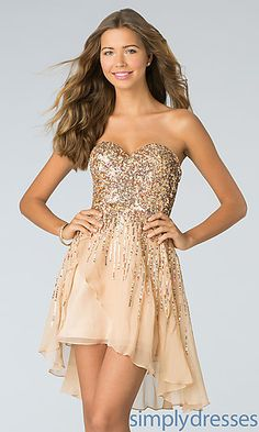 Short Strapless Sequin Dress by Sherri Hill 8443 at SimplyDresses.com