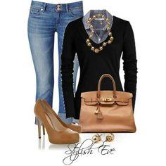 Casusl outfit. Black Long Sleeve Shirt, Light Blue Denim Jeans, Tan Heel & Handbag
