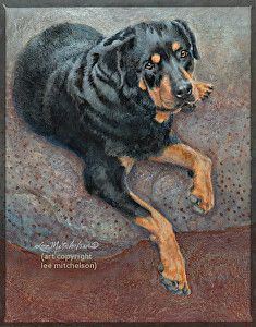 "For sale. 8x10"" original painting ""Olga"" Rottweiler dog. Inquire at leemitchelson@gmail.com"