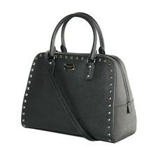 Michael Kors Large Saffiano Stud Black Satchel. Save 32% on the Michael Kors Large Saffiano Stud Black Satchel! This satchel is a top 10 member favorite on Tradesy. See how much you can save