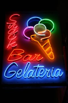 Rainbow of Neons Advertising Signs, Vintage Advertisements, Ice Cream Art, Neon Moon, Neon Words, Vintage Neon Signs, Drink Signs, Neon Nights, Neon Light Signs